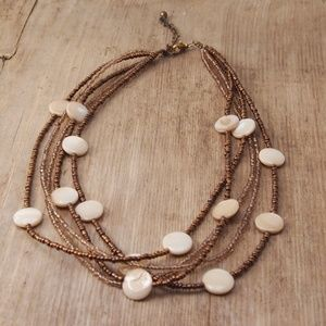 VTG Boho Mother of Pearl Seed Bead Necklace